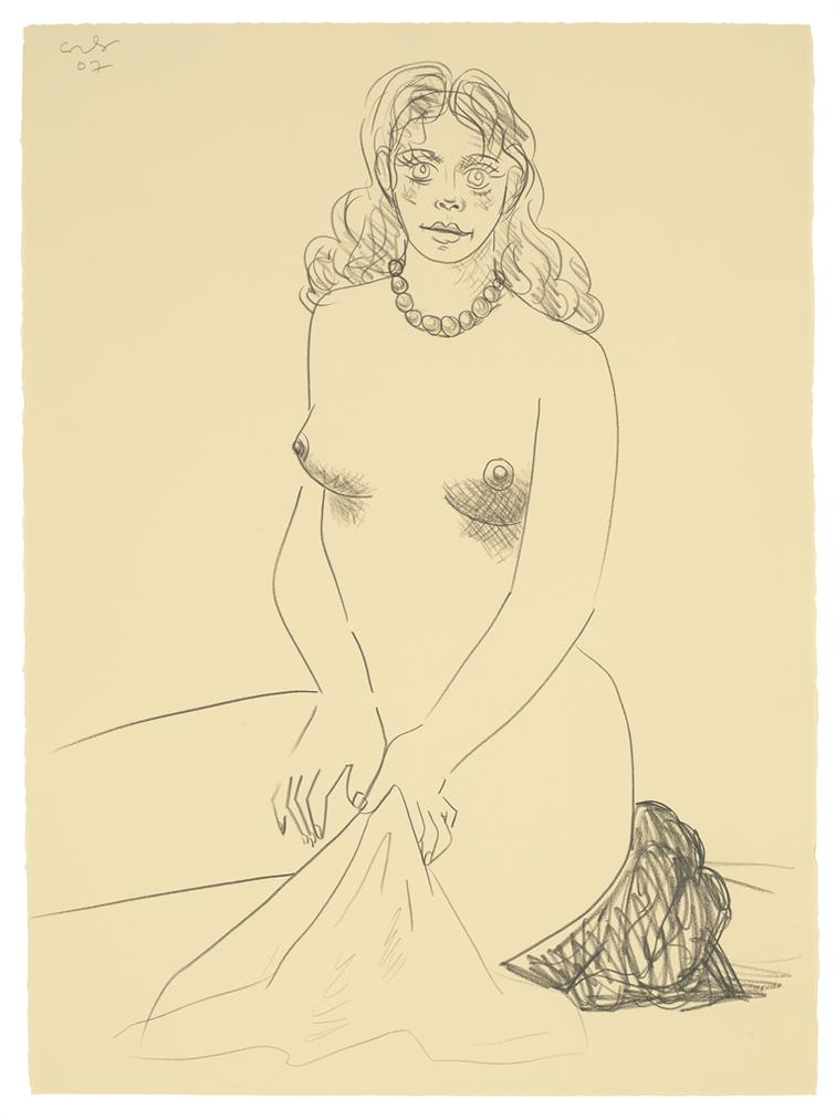 George Condo-Nude With Towel-2007
