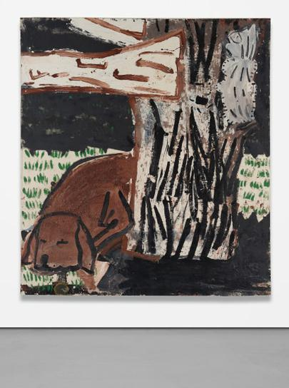 Rose Wylie - Green Grass, White Cat-1997