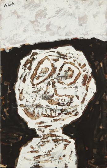Jean Dubuffet-Buste (Avec Graffiti Au Couteau)-1962