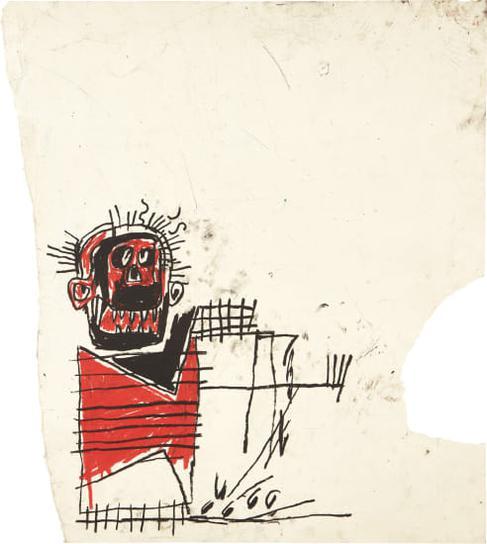 Jean-Michel Basquiat-Untitled (Red/Black Figure)-1982