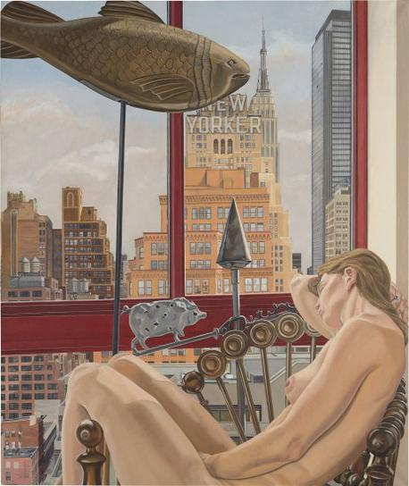 Philip Pearlstein-Model With Empire State Building-1992