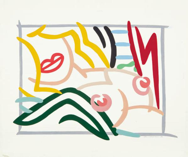 Tom Wesselmann-Study For Bedroom Blonde, Black And Green Pillows-1986