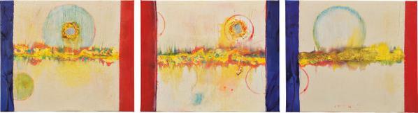 Frank Bowling-Three Works: (I) Resting; (II) Alighting; (III) Hovering-2010