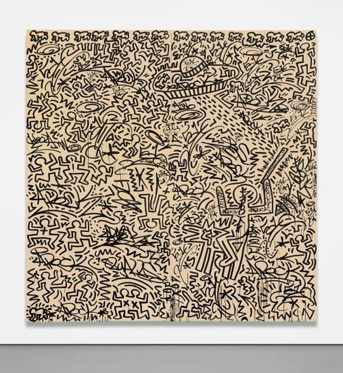 Keith Haring-Untitled (Two-Panel Mural)-1982