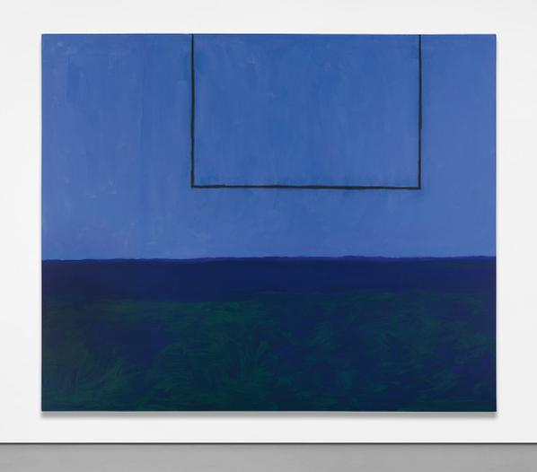Robert Motherwell-Open No. 119: In Blue With Charcoal Line-1972