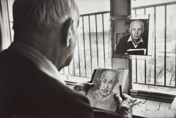 Martine Franck-Henri Cartier-Bresson Drawing A Self-Portrait In His Studio-1992