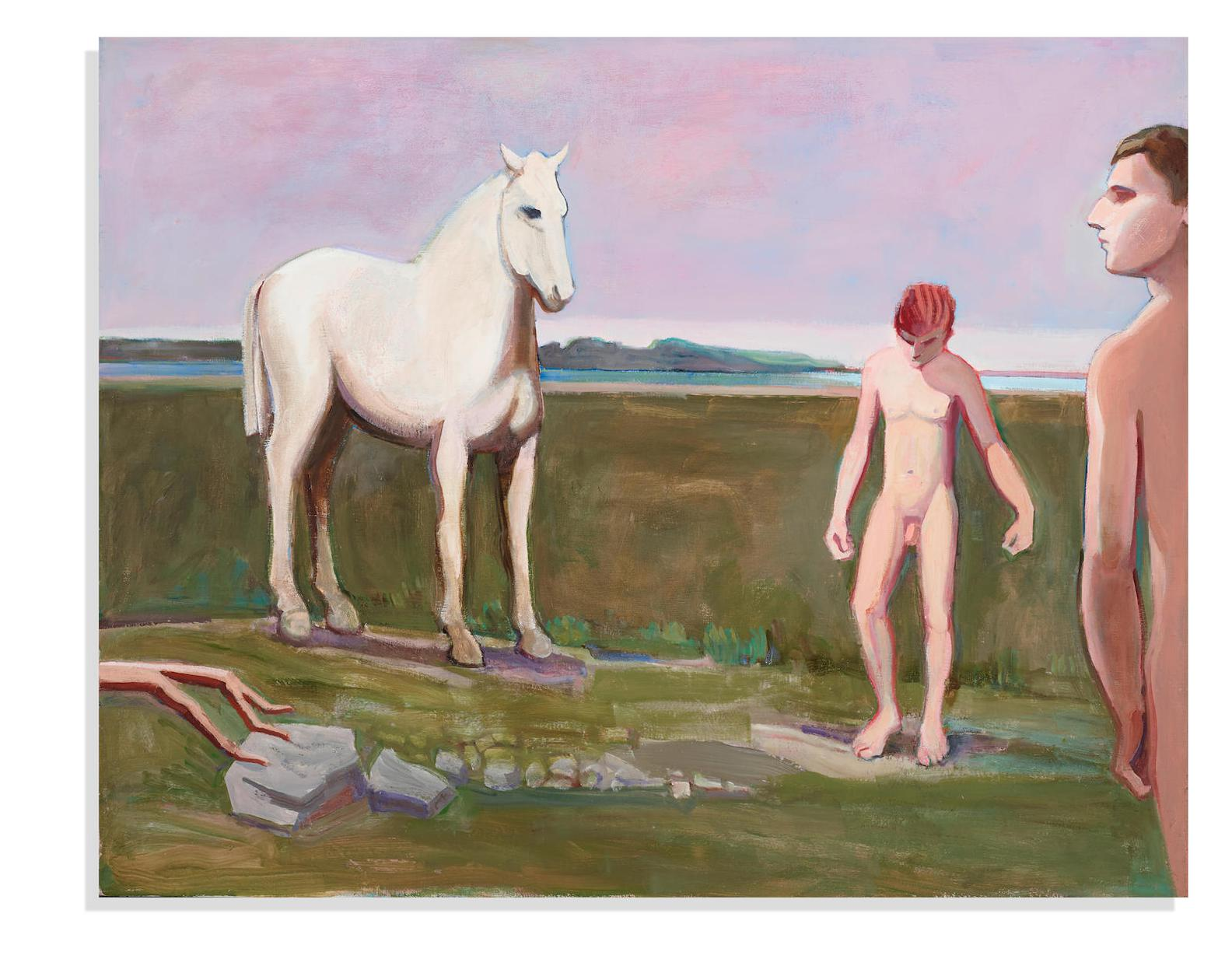 William Theophilus Brown-Horse With Swimmers At Beach-1996