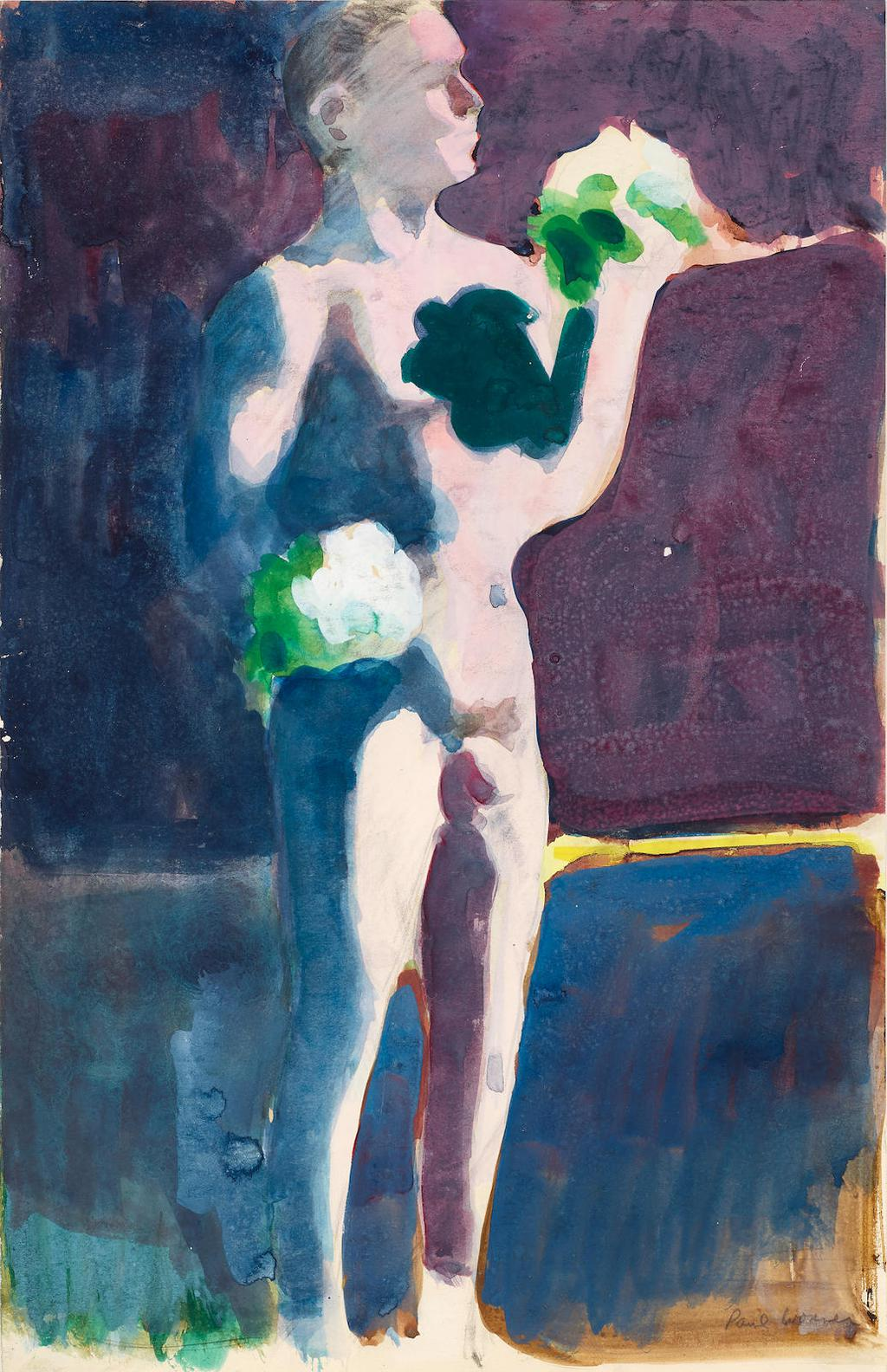Paul Wonner-Nude With A Bouquet-1961
