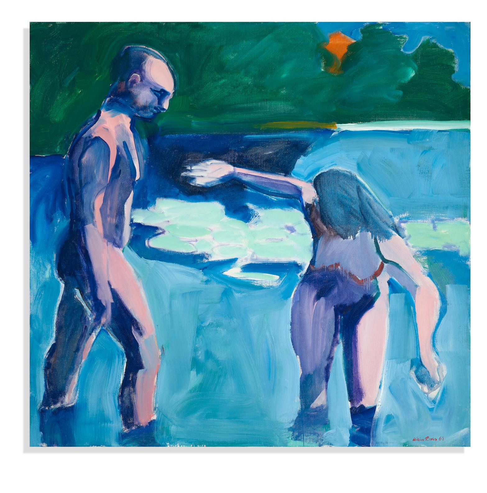 William Theophilus Brown-Bathers In Lily Pond-1963