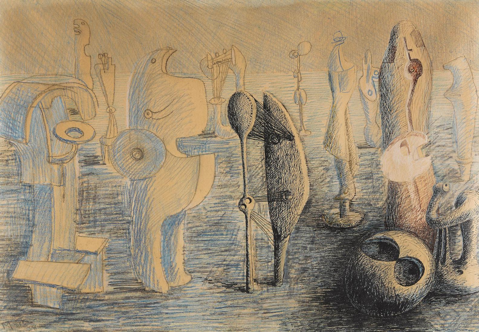 Henry Moore-Drawing For Metal Sculpture-1938