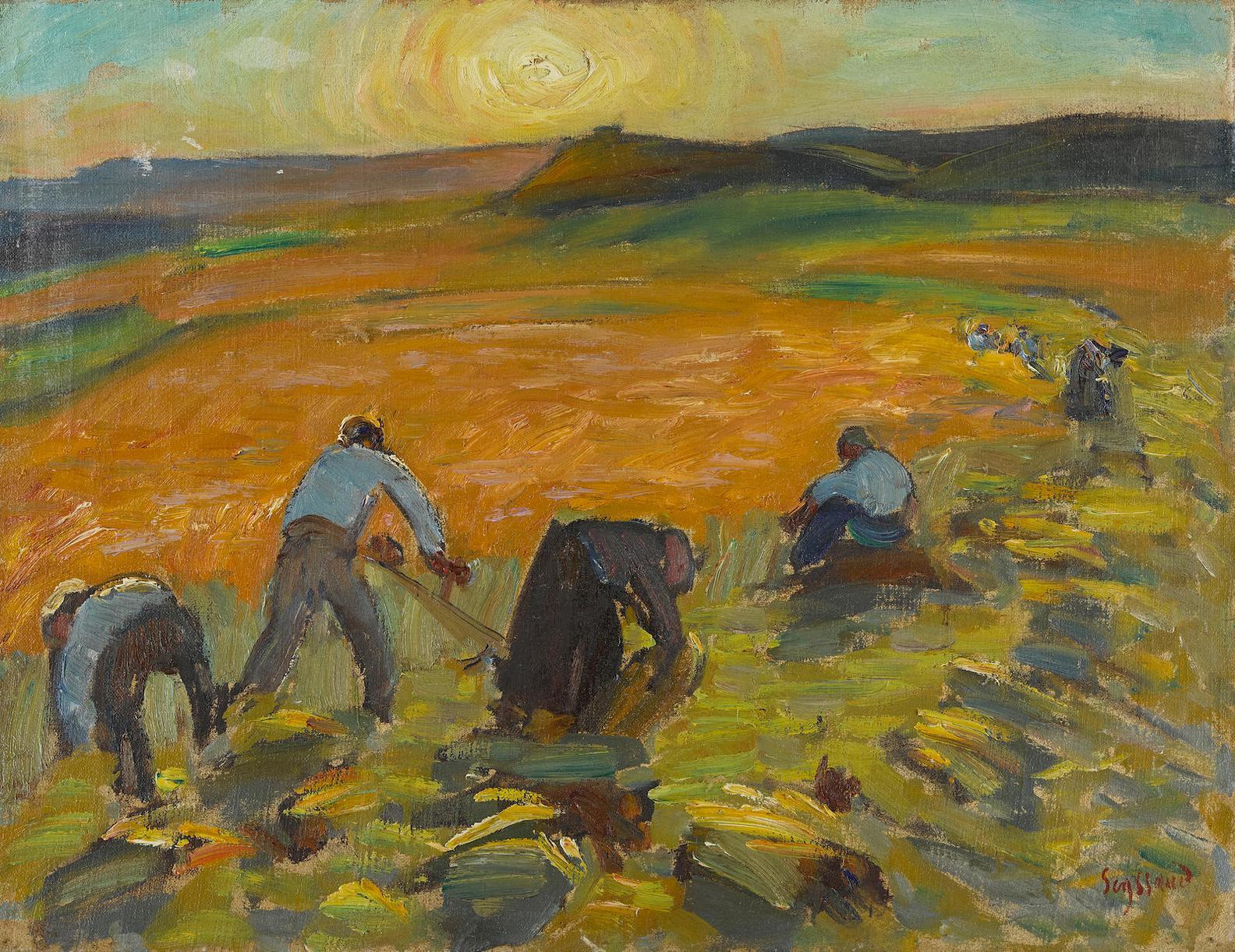 Rene Auguste Seyssaud - Moisson Au Soleil Couchant-1927