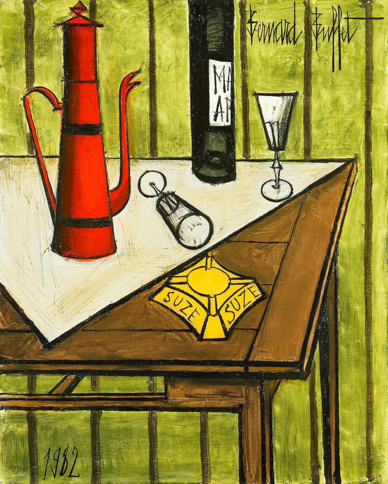 Bernard Buffet-Nature Morte A Cafetiere Rouge-1982