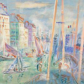 Jean Dufy-Le Quai Videcoq Au Havre-1940