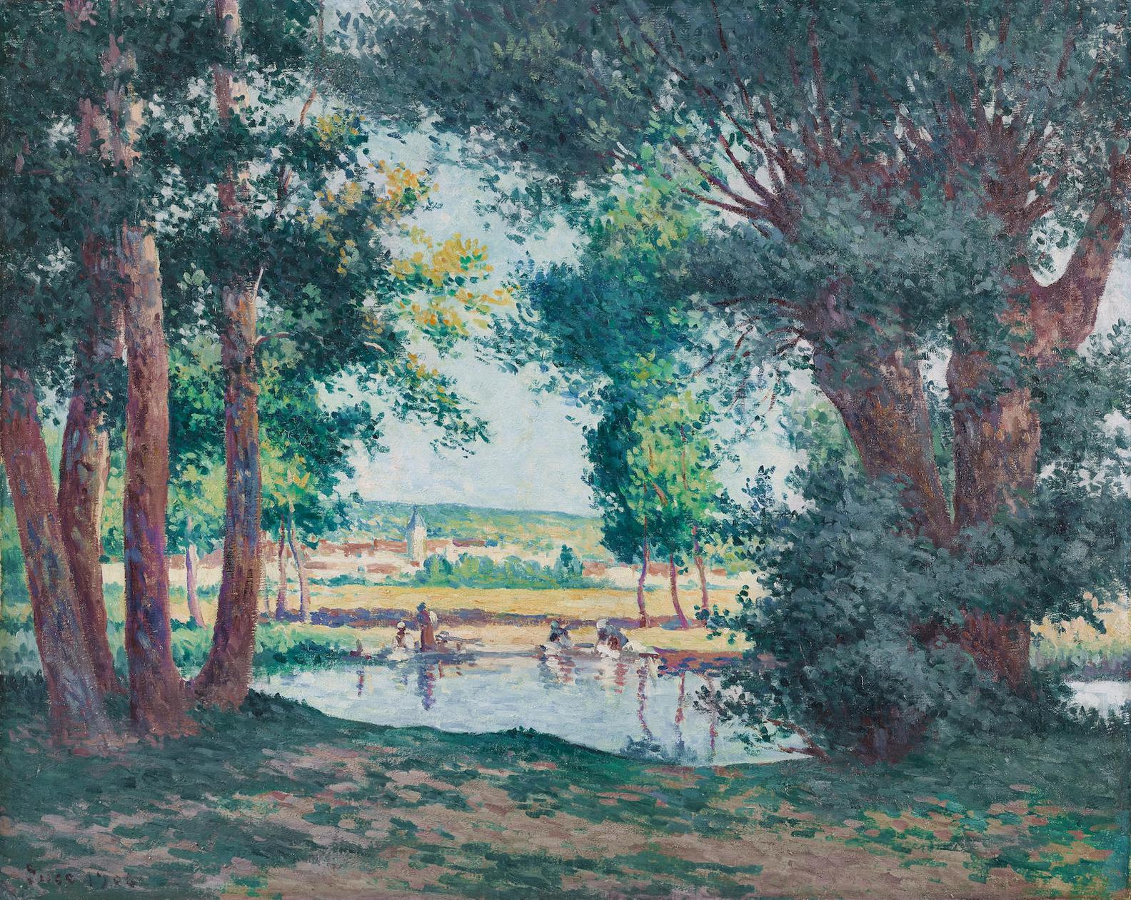 Maximilien Luce-Bessy-Sur-Cure, Les Lavandieresau Bord De Leau-1906