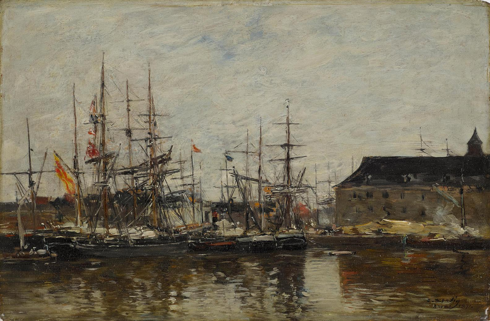 Eugene Louis Boudin-Anvers. Trois-Mats A Quai-1871