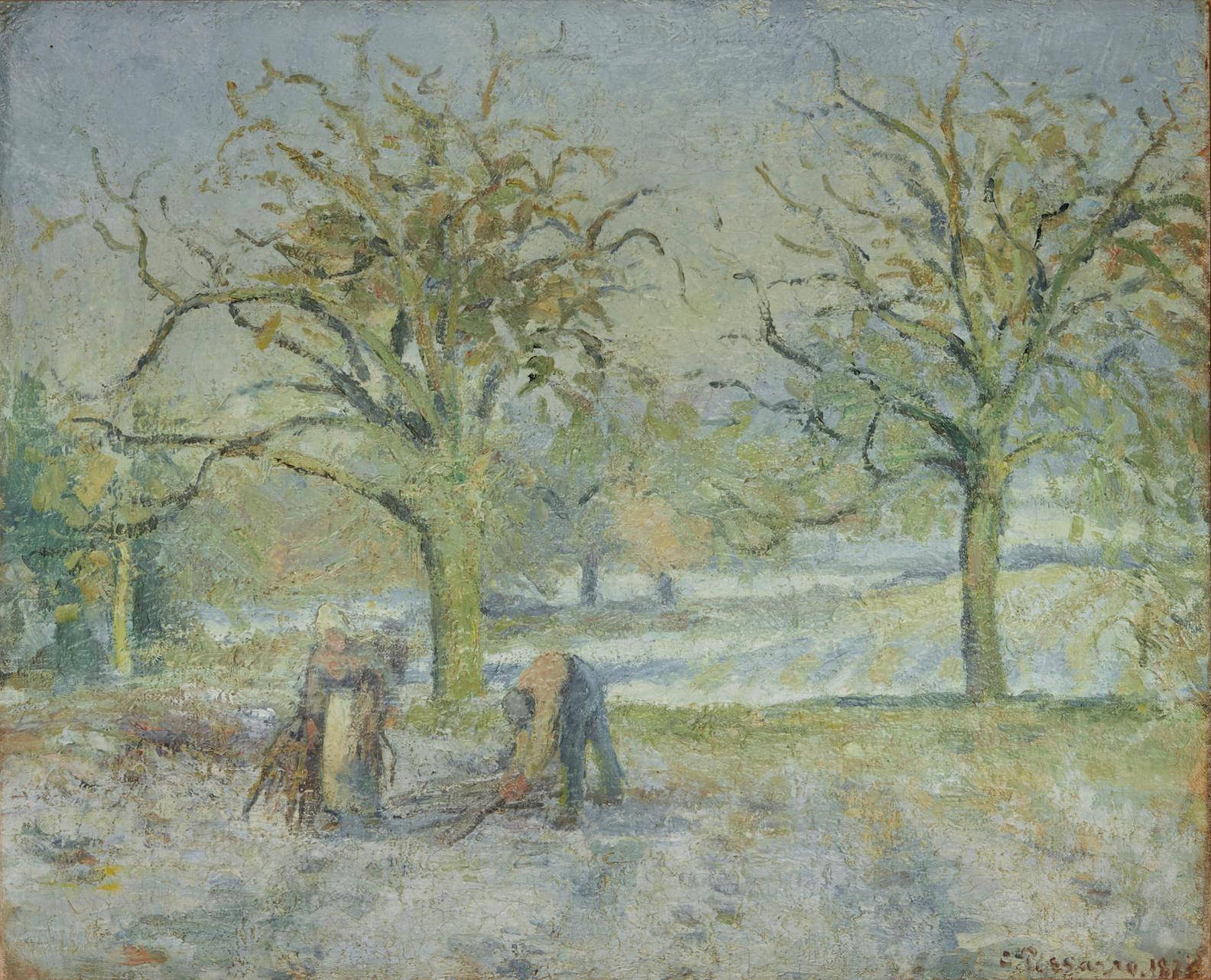 Camille Pissarro-Paysage Dhiver (Recto); Basse-Cour Avec Poules Et Canards (Verso)-1877