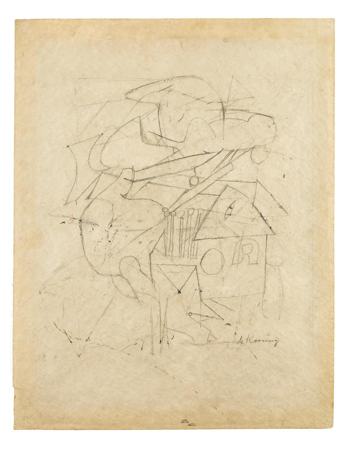 Willem de Kooning-Untitled (Study For A Painting), 1945-1948-1948