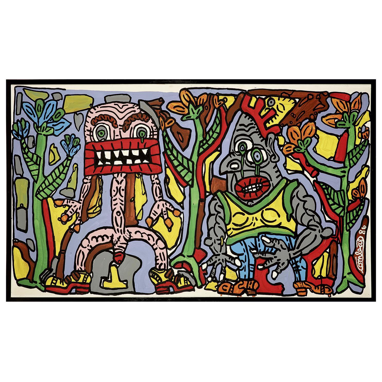 Robert Combas-Bouche Carree Rectangulaire Et Klaus Pointu; Deux copains: Pito Larmaverta le crochu a cymbales dans la tete. Et Pacotille grosse bouche carree.-1986