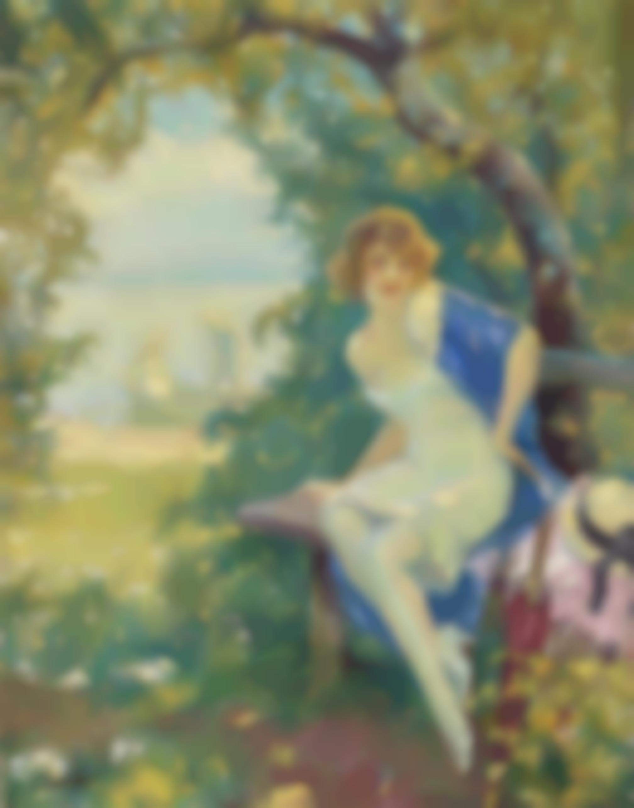 Edward Cucuel - Lady On A Park Bench At The Lake-