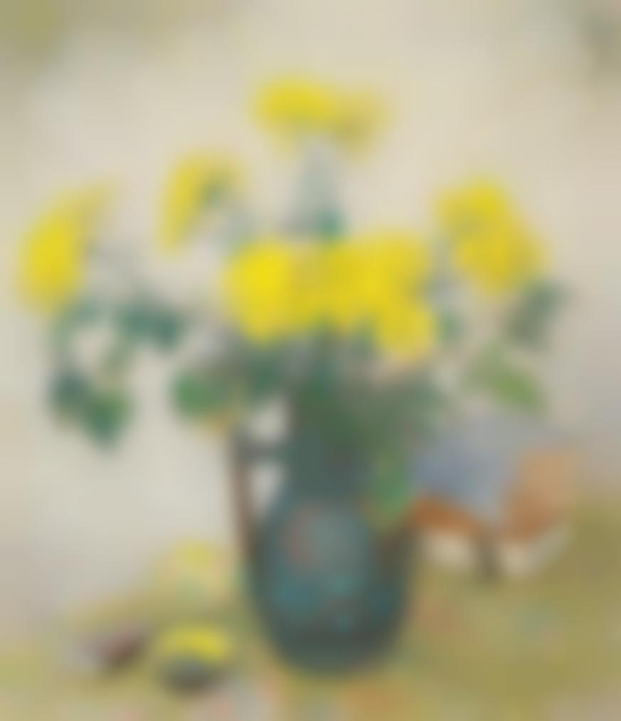 Pan Yuliang-Yellow Flowers In A Vase-1966