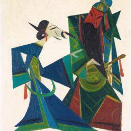 Lin Fengmian-Opera Series: Guan Yu Releases Cao Cao At Huarong Trail