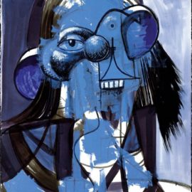 George Condo-Blue Portrait Composition-2013
