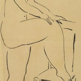 Sanyu-Standing Nude With One Foot On A Chair