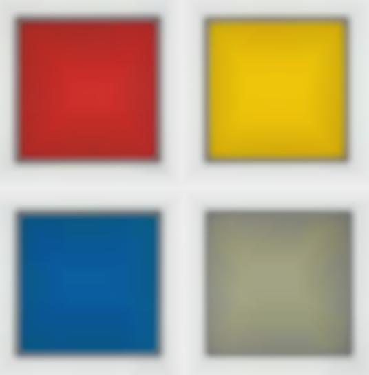 Sol LeWitt-Red, Yellow, Blue, And Gray Squares Bordered By A Black Band-1989