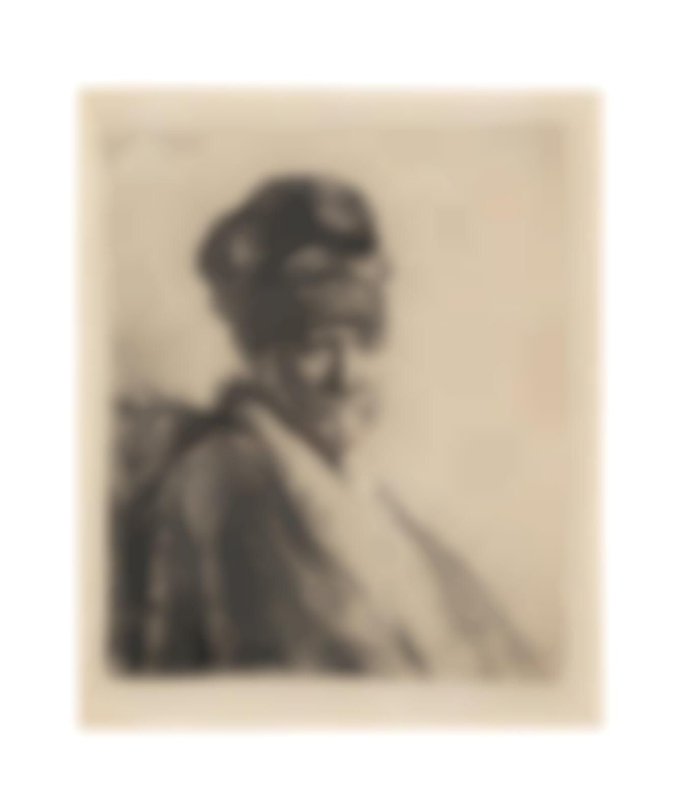 Rembrandt van Rijn-Bust Of A Man Wearing A High Cap, Three-Quarters Right: The Artists Father (?)(Bartsch 321; New Hollstein 57)-1630