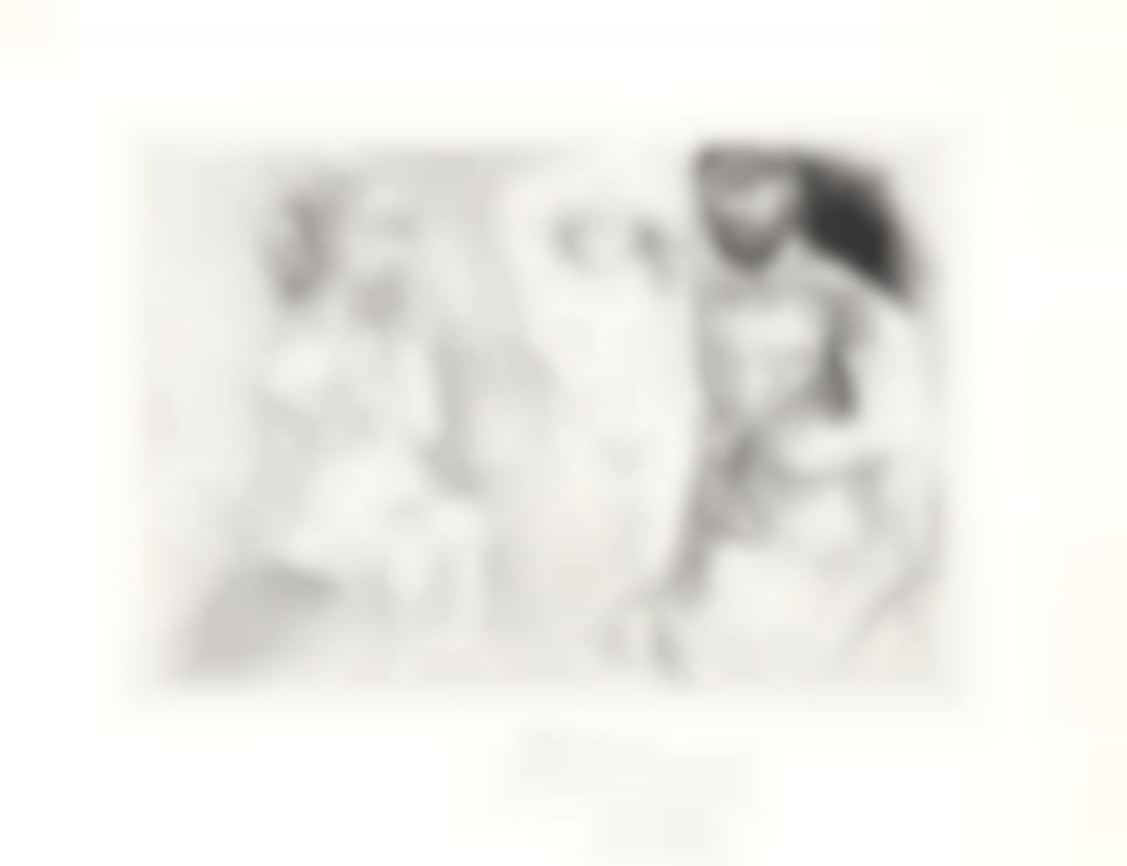 Pablo Picasso-Deux Hommes Barbus Avec Une Femme Nue, From El Entierro Del Conde Orgaz(Bloch 1467; Baer 1378)-1966