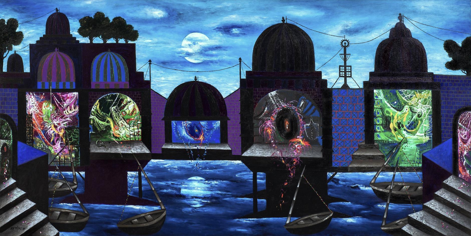 Manu Parekh-Moonlight - Temples At Banaras-2017