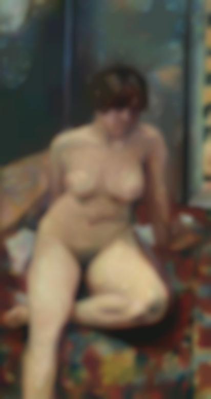 Pierre Bonnard-Nu Assis, Jambe Pliee-1909