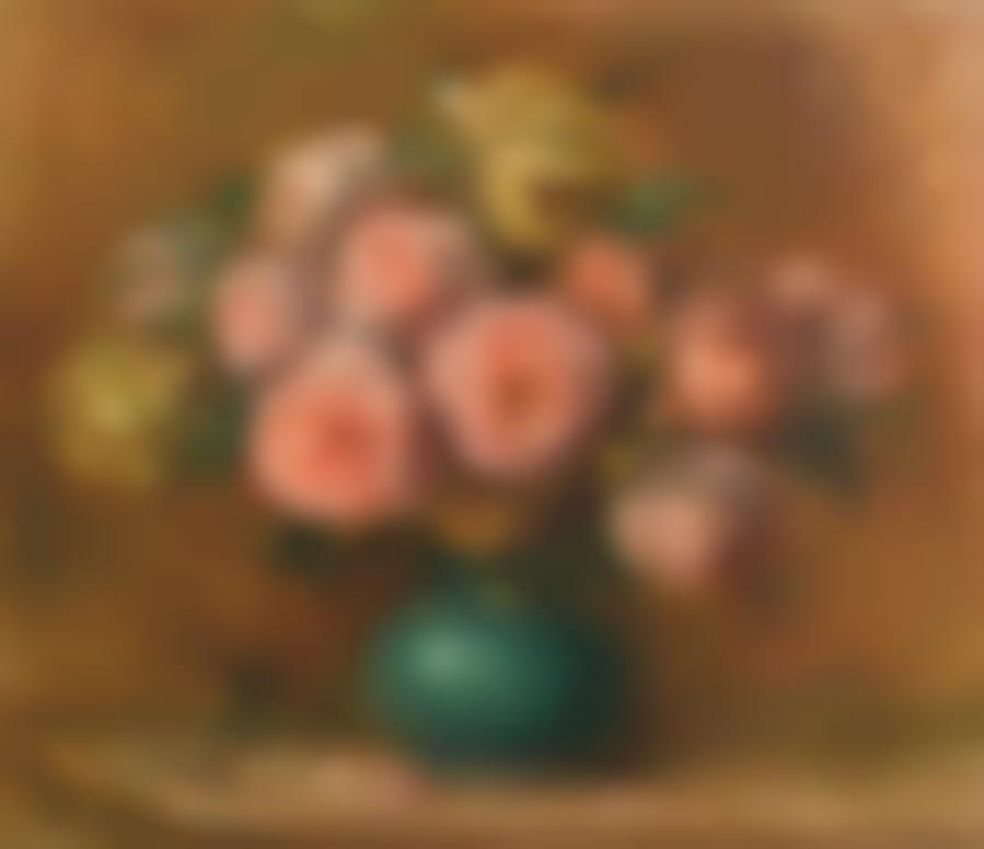 Pierre-Auguste Renoir-Bouquet De Roses Dans Un Vase Vert-1912