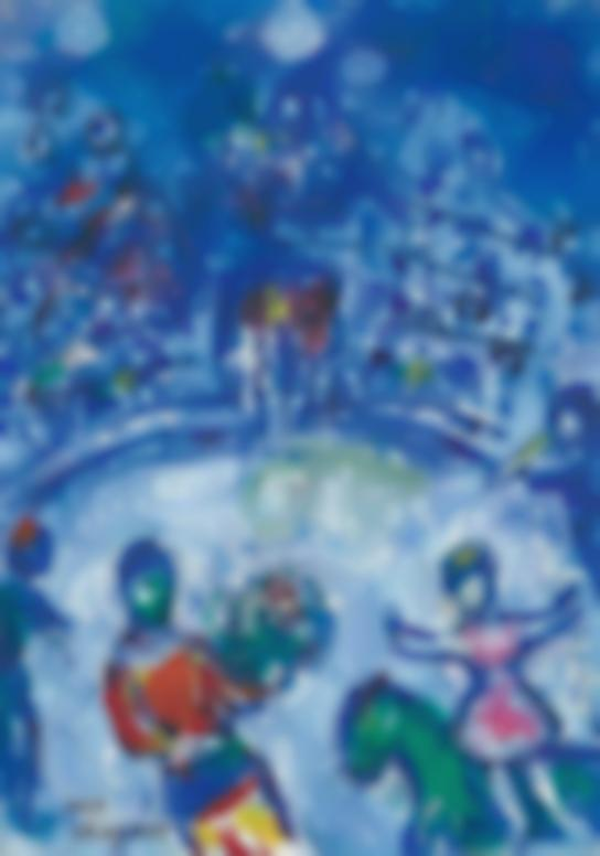 Marc Chagall-Clown Et Ecuyere Au Cirque Bleu-1972