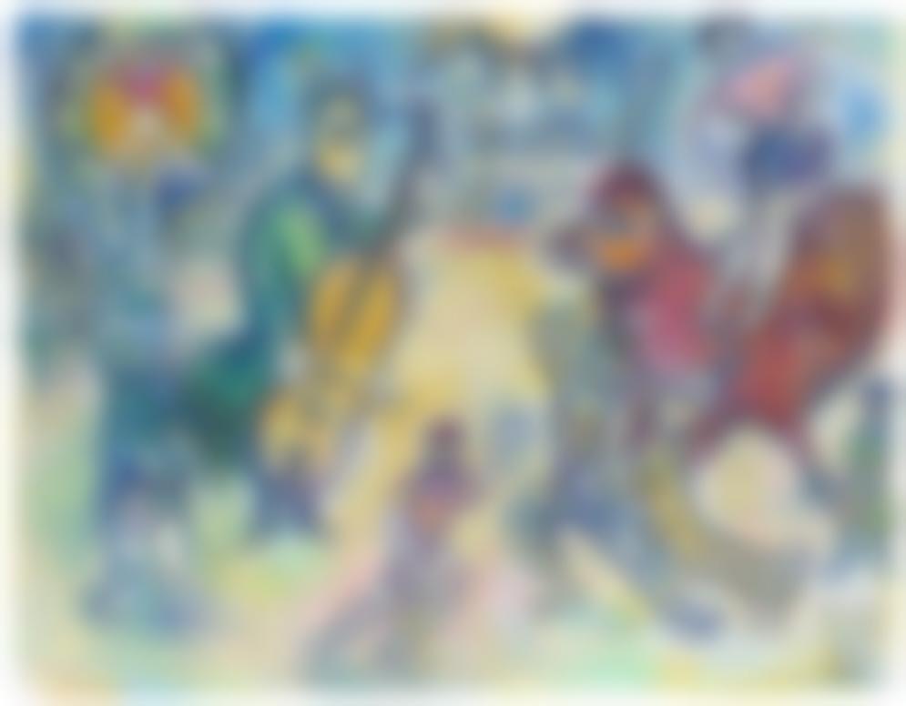 Marc Chagall-Lane Au Violoncelle Ou Cirque Au Soleil Ou Variante Du Cirque Sur Fond Noir - Recto Esquisse Non Retenue Pour La Commedia Dellarte - Verso-1969