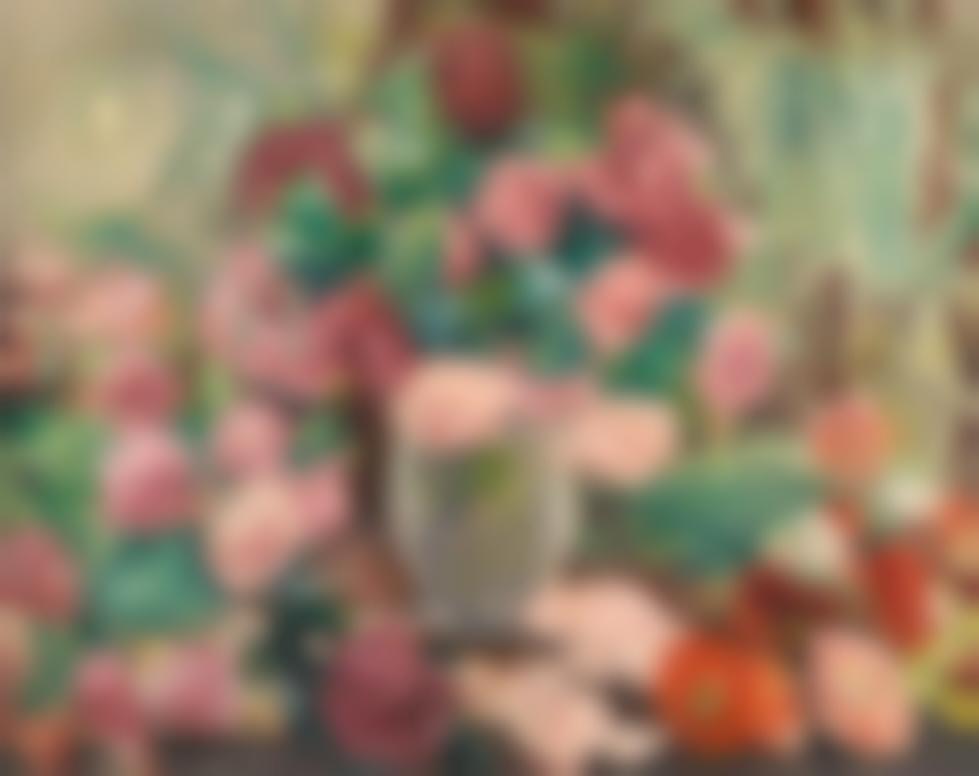 Louis Valtat-Vase De Roses, Les Trois Vases Aux Fleurs Roses-1930