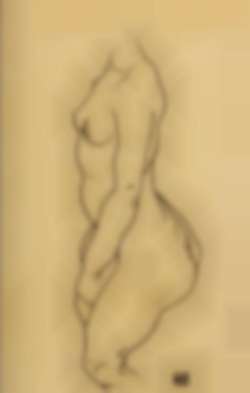 Egon Schiele-Profilansicht Eines Stehenden Aktes (Ohne Kopf) (Standing Nude In Profile (Without Head))-1918