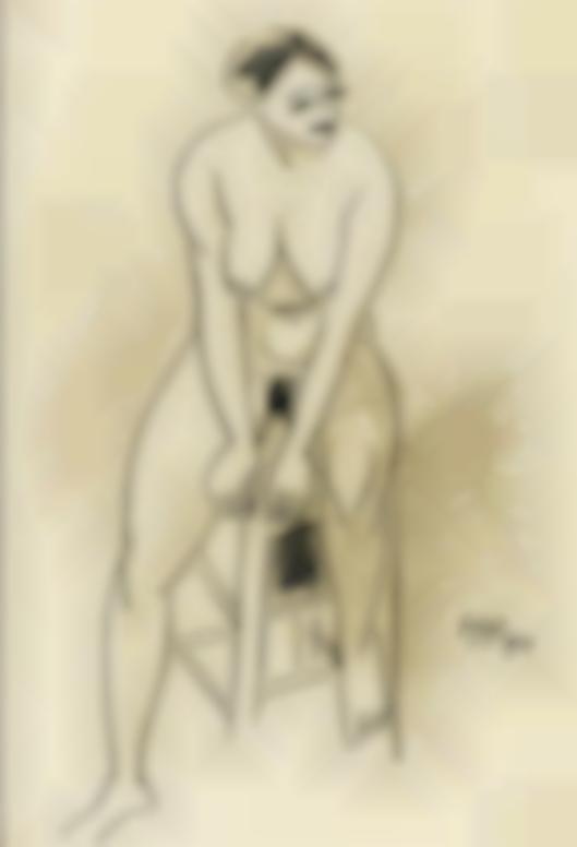 Max Pechstein-Sitzender Akt (Seated Nude)-1914