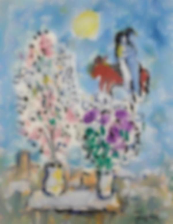 Marc Chagall-Deux Bouquets Et Couple (Etude)-1975