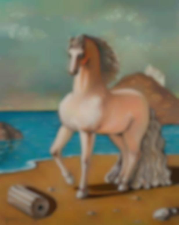 Giorgio de Chirico-Cavallo In Riva Al Mare (Horse By The Seashore)-1970