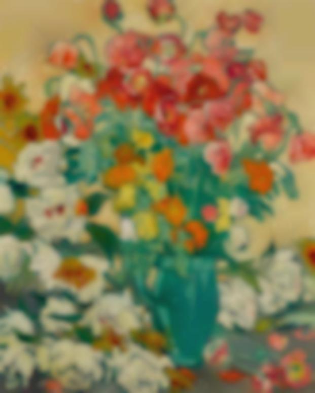 Louis Valtat-Grand Bouquet A La Cruche Vert, Coquelicots Et Pivoines Blanches A La Cruche Verte-1918