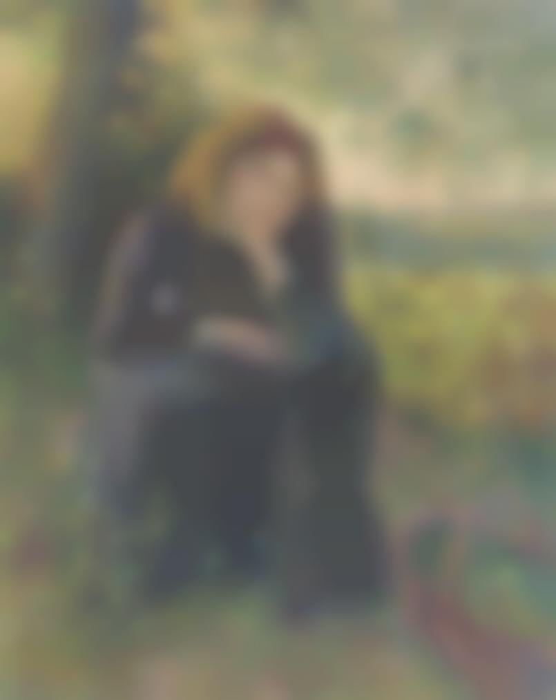 Camille Pissarro-Paysanne Reveuse Assise, Soleil Couchant-1892