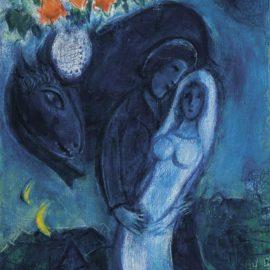 Marc Chagall-Fleurs Au-Dessus Des Fiances Bleus Or Les Amoureux Bleus-1951