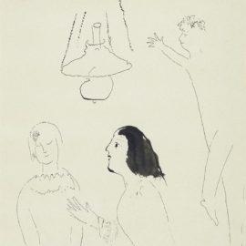 Marc Chagall-La Conversation Autour De Premiere Rencontre De Bella Chagall-1945
