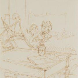 Alberto Giacometti-Bouquet De Fleurs Et Journal Sur Une Table De Latelier A Stampa-1956
