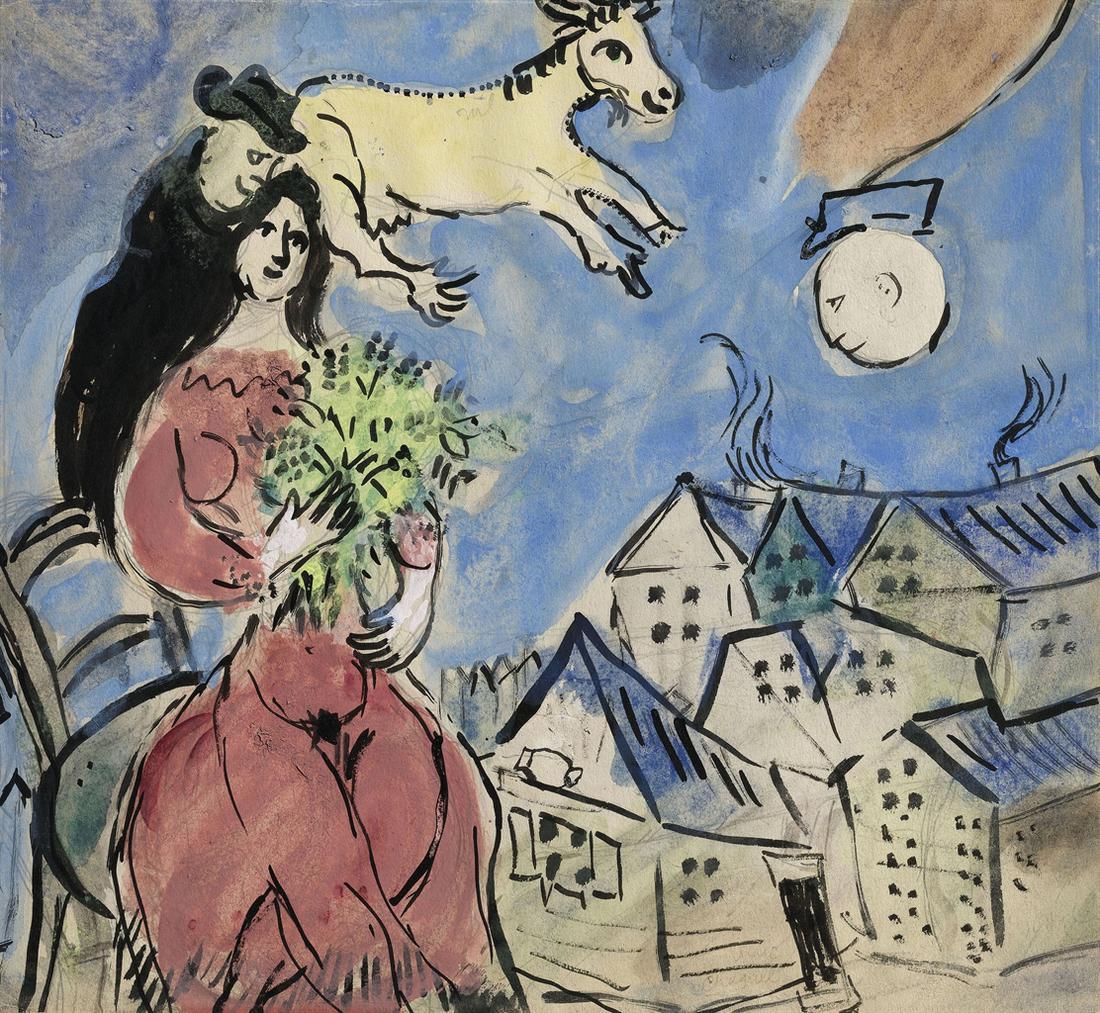 Marc Chagall-Le Couple Au Village-1938