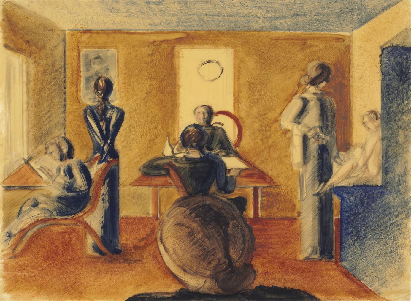 Oskar Schlemmer-Raum Mit Sieben Figuren-1937