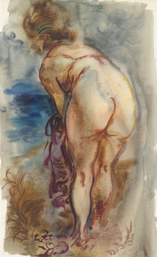 George Grosz-Female Nude, Cape Cod-1939