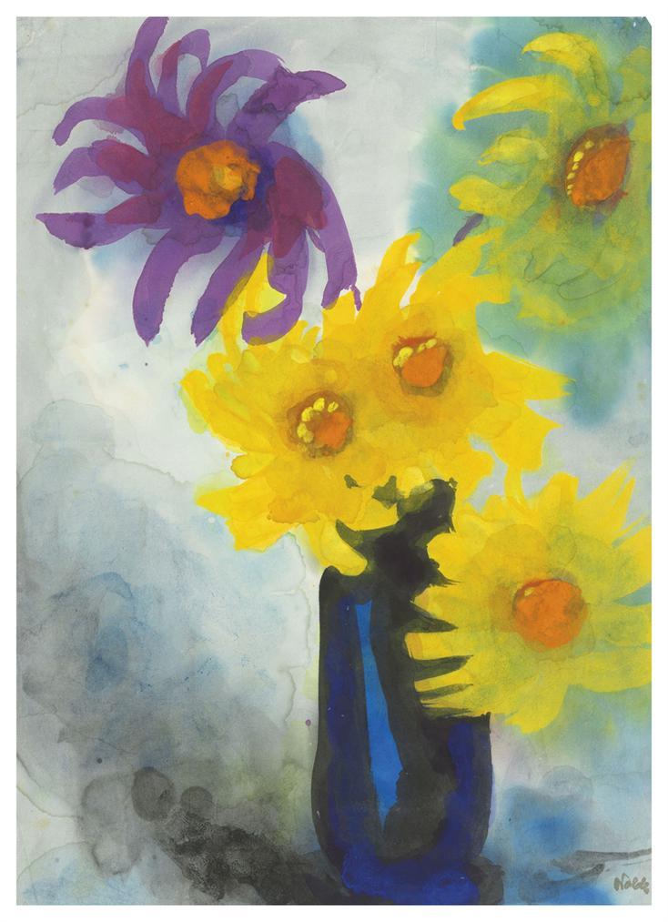 Emil Nolde-Dahlien (Gelb Un Violett) In Blauer Vase-1935