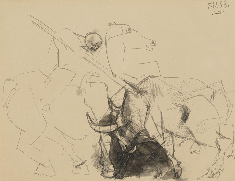 Pablo Picasso-Le Cheval De Picador Cabre-1953